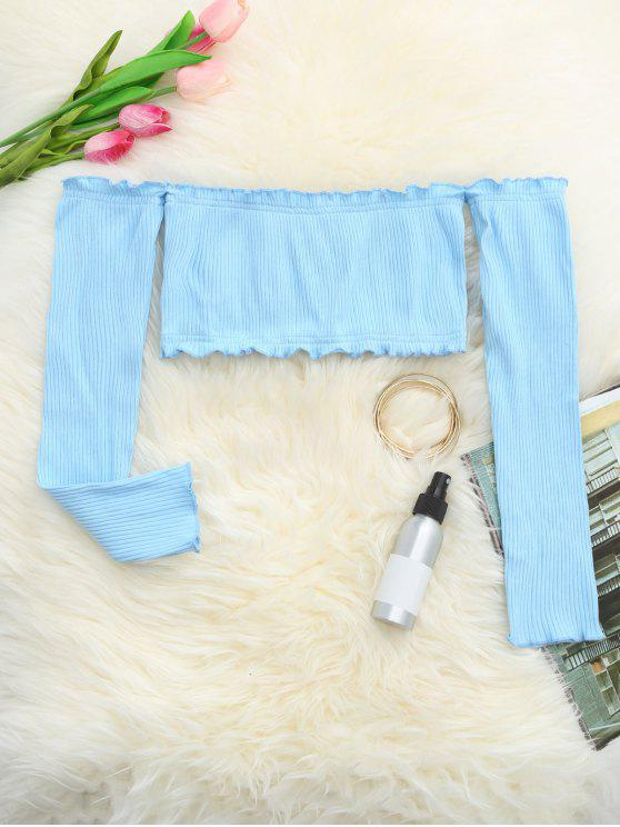 outfit Frilled Off The Shoulder Crop Top - LIGHT BLUE ONE SIZE