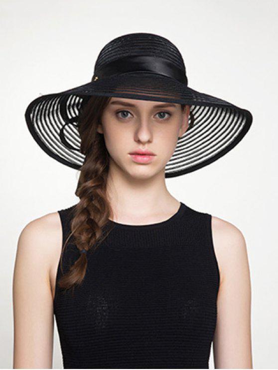 الأورجانزا الشريط واسعة بونوت مخطط قبعة الشمس - أسود
