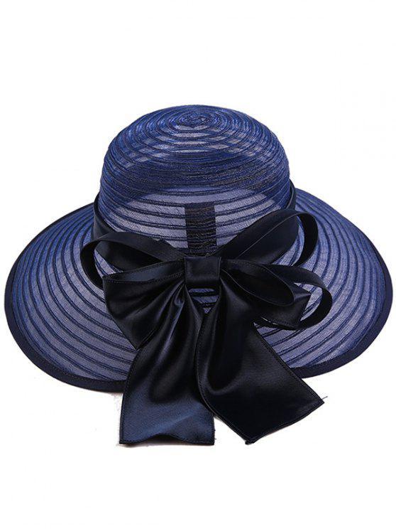 الأورجانزا الشريط واسعة بونوت مخطط قبعة الشمس - Cadetblue رقم