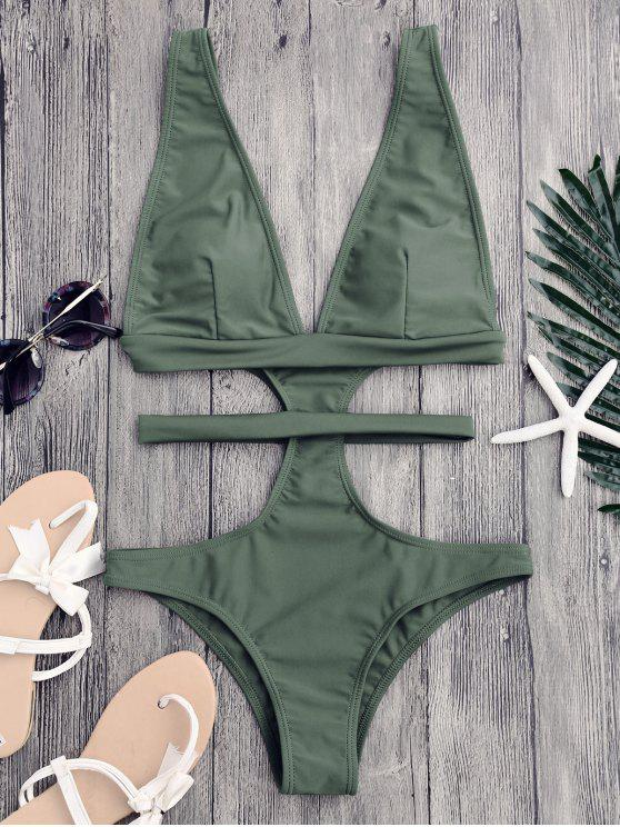 Cut Out Plunging Neck Bandage Swimwear - Sage Green S