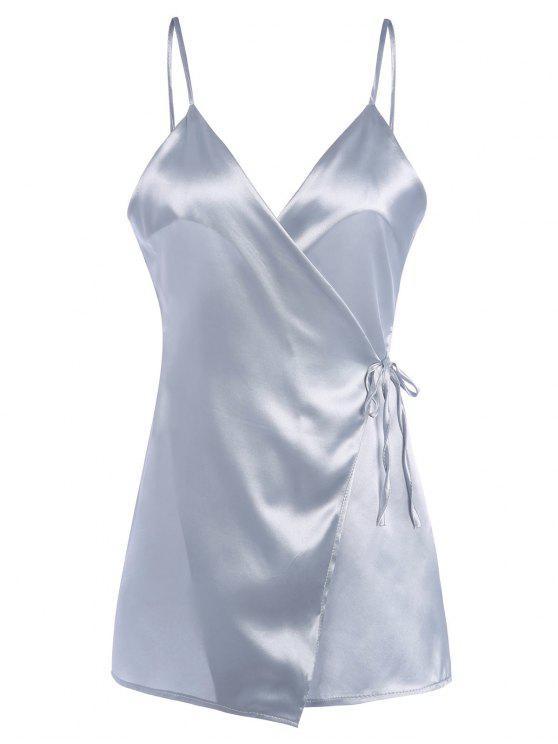 Vestido Encubierto de Satén con Tirantes Finos - Plata XL