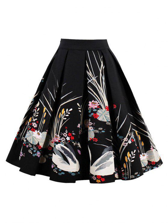 فستان مطوي عالية الخصر - أسود M