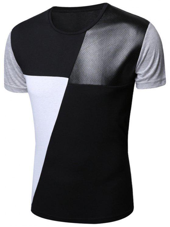 اللون كتلة مخرمة بو الجلود لوحة تي شيرت - أسود L