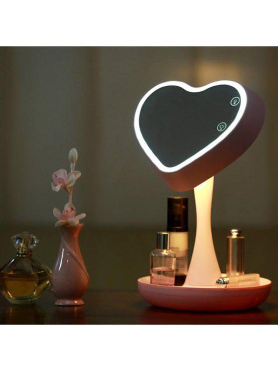 180 درجة تدوير شكل قلب أوسب ماكياج مرآة مكتب مصباح - زهري