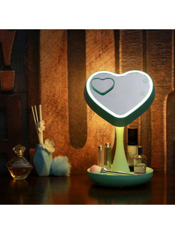 180 درجة تدوير شكل قلب أوسب ماكياج مرآة مكتب مصباح - أخضر