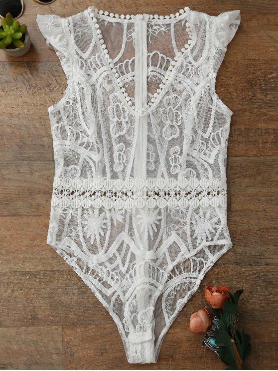 Sheer Spitze Unterwäsche Teddy Bodysuit - Weiß L
