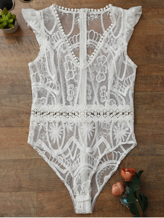 lady Sheer Lace Lingeries Teddy Bodysuit - WHITE M