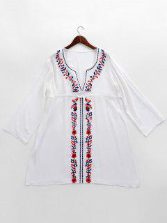Robe Caftan De Plage Cover Up Brodée  - Blanc