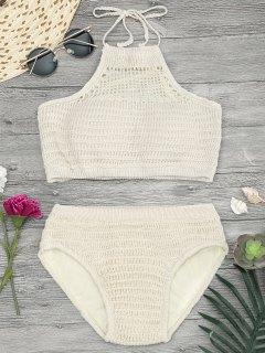 Padded Halterneck Crochet Bikini Set - Khaki