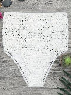 Bikini Slip à Haute Taille Crochet - Blanc