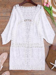 Crochet Embroidered Longline Kimono Cover Up - White