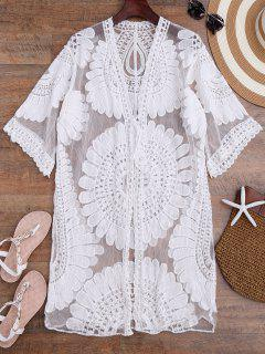 Crochet Flower Kimono Longline Cover Up - White
