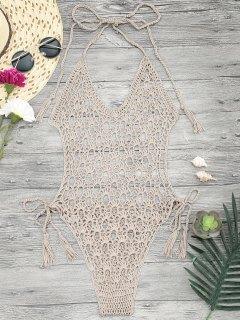 Crochet Monokini One Piece Swimsuit - Khaki