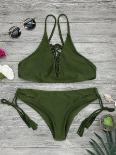 Low Waisted Lace Up Bikini Top And Bottoms - Army Green M