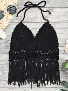 Midi Bikini Top Au Crochet à Glands - Noir