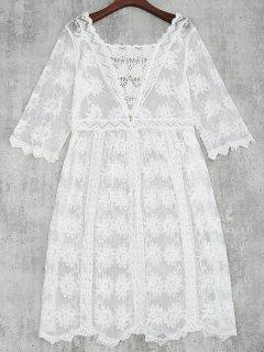 Crochet Lace Beach Cubrir Hasta Vestido - Blanco