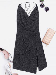 Criss Cross Skiny Club Dress - Black S
