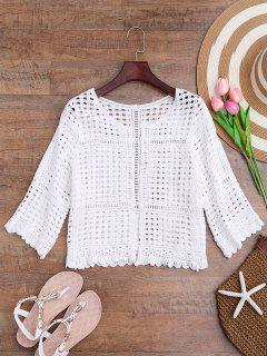 Open Front Laser Cut Out Crochet Cover Up - White