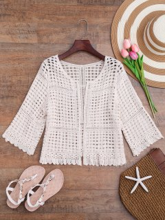 Open Front Laser Cut Out Crochet Cover Up - Off-white