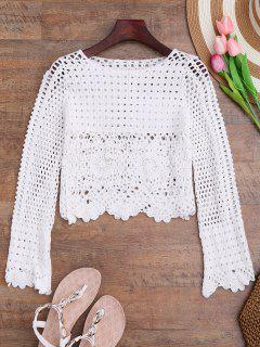Long Sleeve Laser Cut Out Crochet Cover Up - White