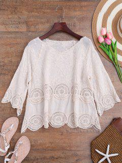 Crochet Panel Floral Embroidered Cover Up - Off-white