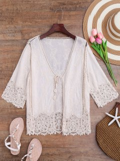 Crochet Panel Bohemian Front Tie Cover Up - Off-white