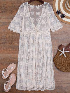 Tied Crochet Kimono Longline Cover Up - Off-white