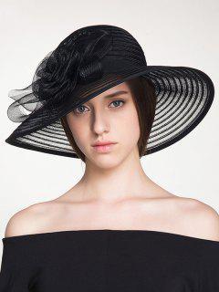 Ribbon Striped Organza Rose Sun Hat - Black