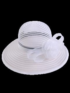 Ribbon Striped Organza Rose Sun Hat - White
