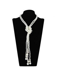 2PCS Graduated Pearl Necklaces - White