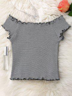 Striped Ruffles Ribbed Top - White And Black