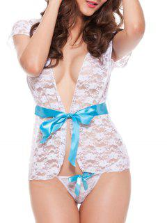 Lace Sheer Lingerie Pajamas Set With Belt - White M