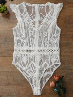 Sheer Lace Lingeries Teddy Bodysuit - White M