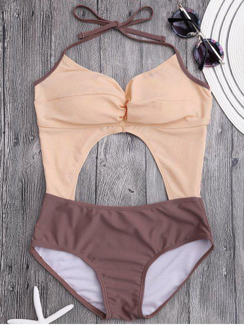 ladies Cut Out Color Block Ruched Swimwear - PINKBEIGE M Mobile