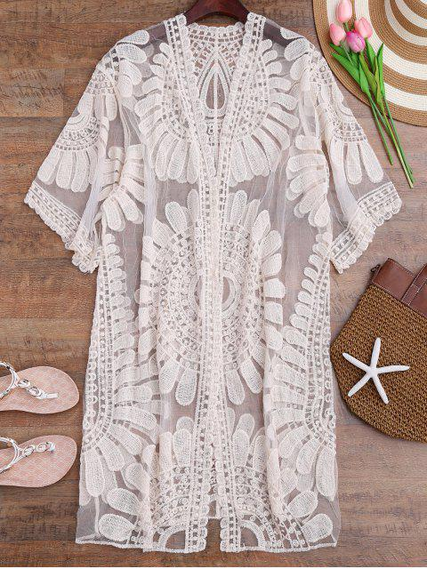 buy Crochet Flower Kimono Longline Cover Up - OFF-WHITE ONE SIZE Mobile