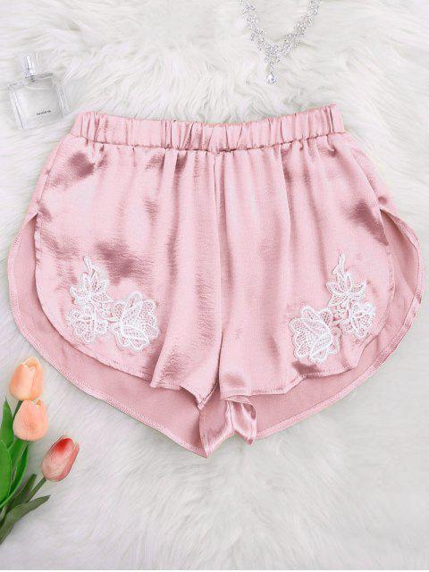 Shorts de sommeil en satin avec décoration style de dauphin - ROSE PÂLE S Mobile