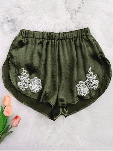 outfits Applique Satin Dolphin Sleep Shorts - ARMY GREEN M Mobile