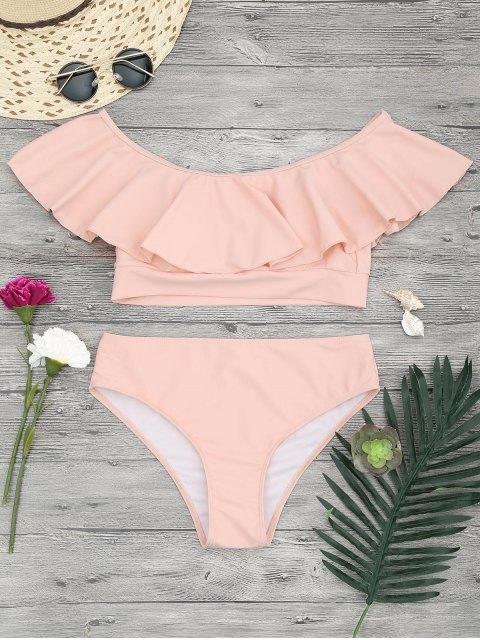 Ensemble de bikini épaules dénudées à volants - Orange Rose S Mobile