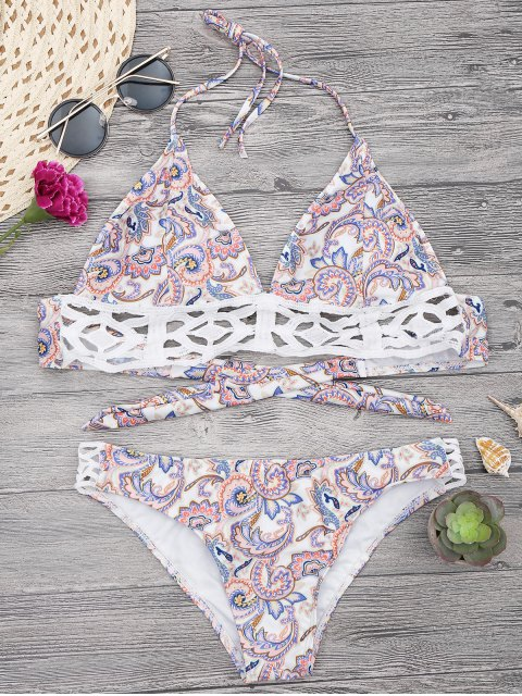 unique Floral Print Midi Bikini Top and Bottoms - WHITE L Mobile