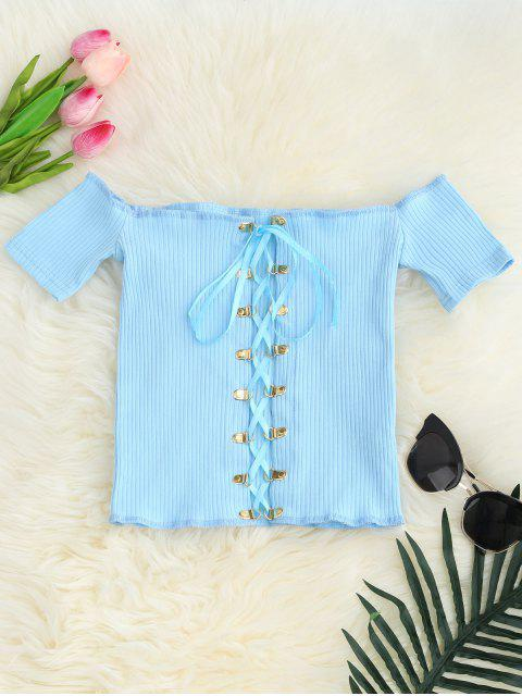 chic Lace Up Off The Shoulder Cropped Top - LIGHT BLUE ONE SIZE Mobile