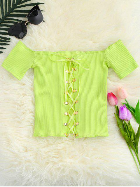 fancy Lace Up Off The Shoulder Cropped Top - YELLOW GREEN ONE SIZE Mobile