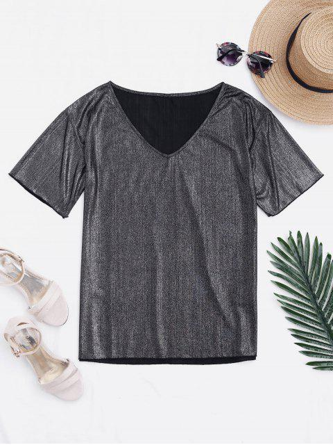 V Neck Loose Shiny Top - Argent L Mobile