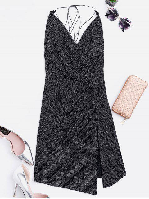 outfits Criss Cross Skiny Club Dress - BLACK S Mobile