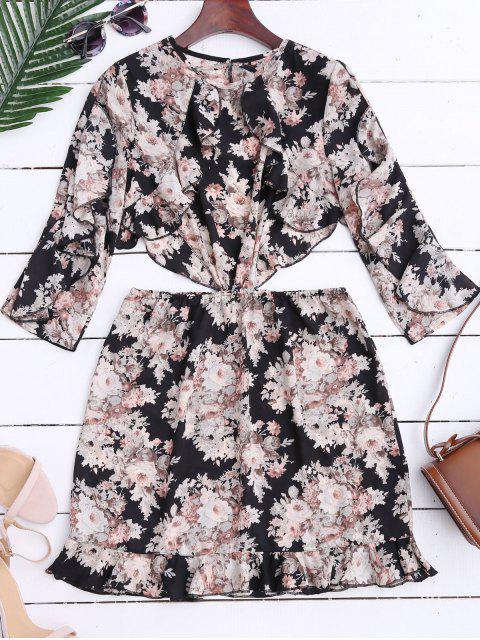 Ruffles Floral Mini vestido de corte alto - Floral S Mobile