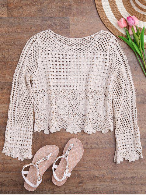 hot Long Sleeve Laser Cut Out Crochet Cover Up - OFF-WHITE ONE SIZE Mobile