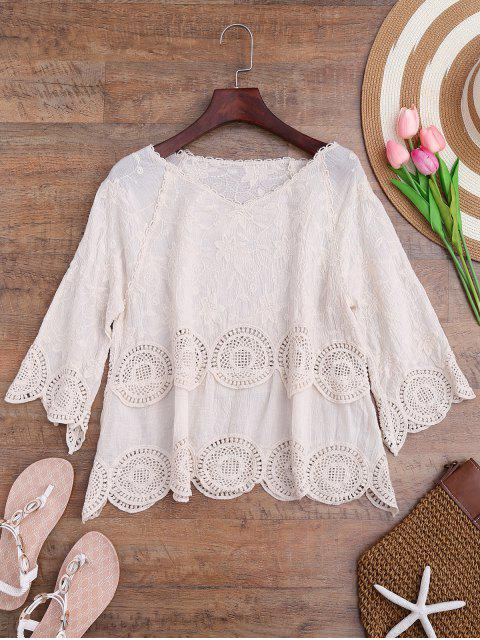 outfits Crochet Panel Floral Embroidered Cover Up - OFF-WHITE ONE SIZE Mobile