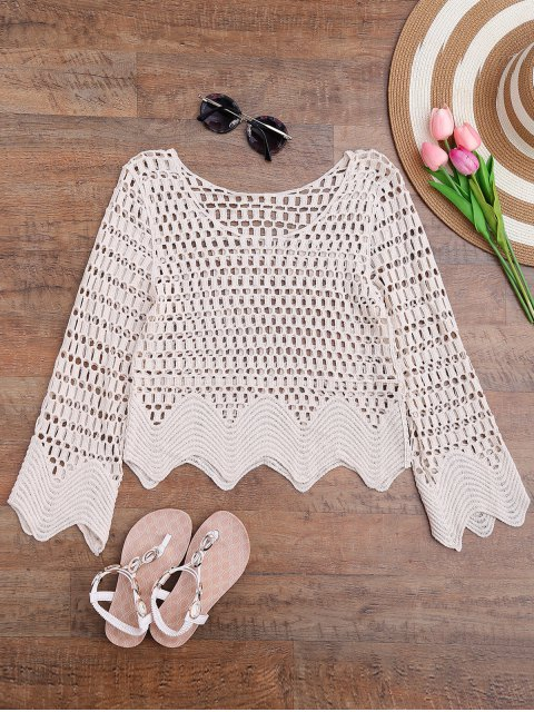 chic Scalloped Hem Crochet Laser Cut Cover Up - OFF-WHITE ONE SIZE Mobile