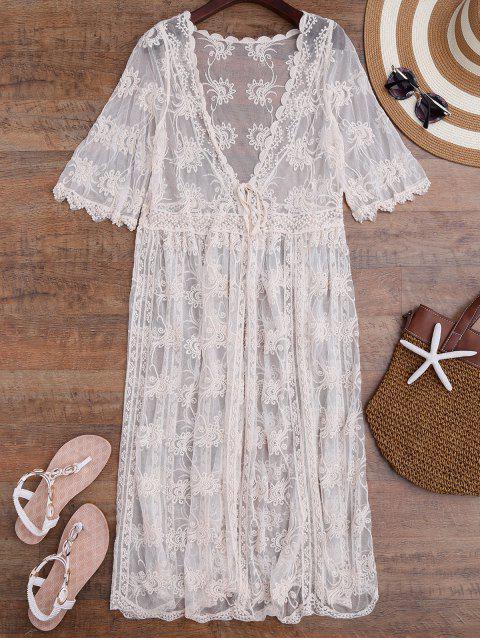 Cover up long en crochet à style Kimono - Blanc Cassé TAILLE MOYENNE Mobile