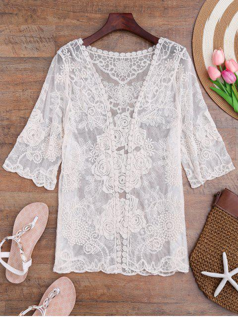 sale Sheer Crochet Flower Kimono Cover Up - OFF-WHITE ONE SIZE Mobile