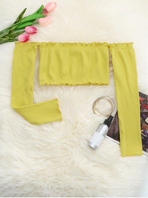 Blusa Corta de Hombros al Aire con Volantes - Amarillo Talla única Mobile